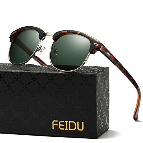 2d4c802f6750a Galleon - Retro Clubmaster Sunglasses For Men - FEIDU Half Metal Polarized  Sunglasses For Women FD3030 (green leopard
