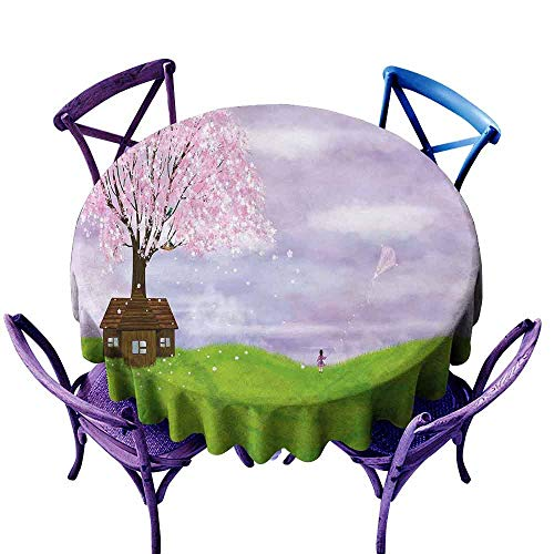 AndyTours Spillproof Tablecloth,Nature,Single House by Blooming Spring Tree and Little Girl with Kite Idyllic Picture,Table Cover for Home Restaurant,35 INCH Lime Green Lilac