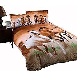 Wowelife Horse Bedding Sets Kids Bedding Sets Twin Size 4 Pieces with Duvet Cover, Flat Sheet, and 2 Pillow Cases(Comforter Not Included)(Twin-4 Pieces)