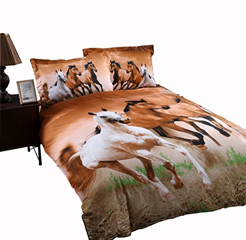 Babycare Pro Galloping Horse Reactive Print Polyester 3D Duvet Cover Bedding Sets Twin Size 4 Pieces( Comforter Not Included)(Twin)