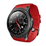 Sunward LEMFO LF25 Waterproof Smart Sports Watch HD Large Touch Screen Display Bluetooth 4.0 1G 16G for Men Women Fitness Tracker Compatible Android iOS (Red)