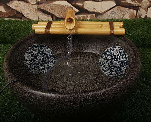 Bamboo Tabletop Fountain - Bamboo Water Fountain Medium 12 Inch Three Arm Style without Pump, Indoor or Outdoor Zen Garden Decor Fountain, Natural, Split Resistant Bamboo, Combine with Any Container to Create Your Own Fountaion