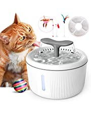QIUQIU Cat Water Fountain,2L Automatic Pet Water Fountain Super Quiet with 4 Pet Toys/Filter/LED Water Level Window, Automatic Drinking Water Bowl for Multiple Pets-Cat, Dogs,Birds, Rabbits, etc.
