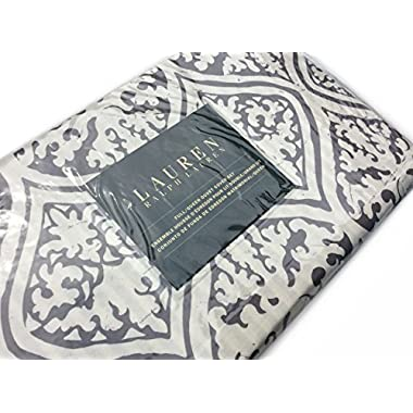 Ralph Lauren Antiqued Ikat Vintage Medallion 3pc Queen Duvet Cover Set Grey Ivory (King)