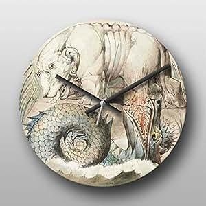 Reloj de pared de William Blake torturaré ahogándote - grande impreso Circular reloj de cuarzo, Non headphonemate yogabox manos, regalo Ideal, único del arte, obras de arte, impresión, imagen - para oficina, trabajo, sala de estar, cocina, baño, dormitorio, salón, casa, hogar