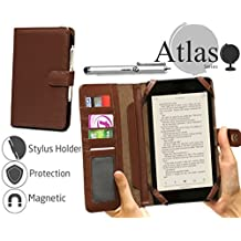 "Navitech 7"" Brown Leather Book Style Folio Case / Cover & Stylus Pen For The Kobo Arc 7 HD"