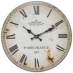 Round Red Off White Antique Look Paris France Decorative Clock 13 x 13 inches Quartz movement...0107