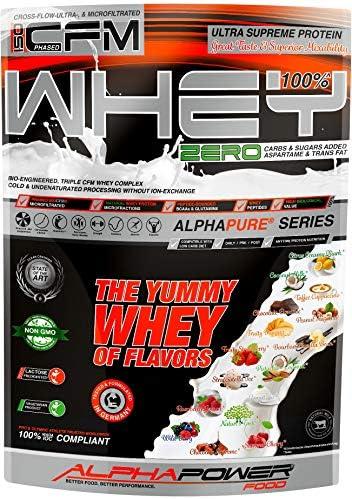ALPHAPOWER FOOD® 100%* Pure CFM Whey Protein Isolate Eiweisspulver, 1kg Schoko 3-Bioengineered ohne Aspartam,...