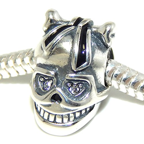 ICYROSE Solid 925 Sterling Silver Skull with Bone and Black Ribbon in Hair and Clear CZ Eyes Charm Bead 534 for European Snake Chain Bracelets