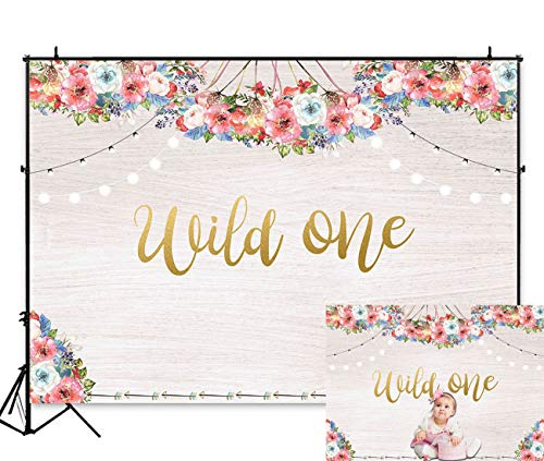 Art Studio 5x3ft Boho Theme Floral Backdrop Wild One Girl Princess 1st Birthday Party Decoration Photo Background Bohemian Trible Wooden Wall Baby Shower PhotoBooth Banner Studio Props Vinyl ()