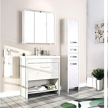 Komplett Landhaus Badezimmer Möbel Set massiv weiß Badezimmermöbel ...