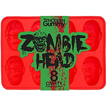 Zombie Head Candy Mold by The Modern Gummy, PROFESSIONAL GRADE PURE LFGB SILICONE, 8 Realistic Cavities per Mold, Includes Recipe PDF; For Gelatin, ...