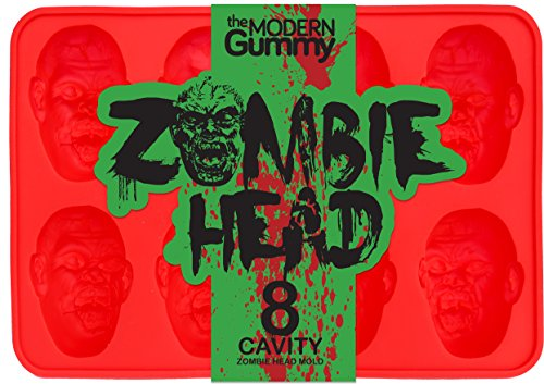 Zombie Head Candy Mold by The Modern Gummy, PROFESSIONAL GRADE PURE LFGB SILICONE, 8 Realistic Cavities per Mold, Includes Recipe PDF; For Gelatin, Chocolates, Cupcake Toppers, Halloween, Zombie -