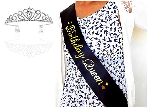 Birthday Queen Sash and Tiara for Women- 26th 27th 28th 29th 30th 32nd 33rd 34th 38th 50th 59th 61st 70 80 85 Bday sash for Women, Black sash, sash Queen, sash and Rhinestone Tiara kit