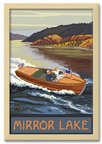 Northwest Art Mall Mirror Lake New Hampshire Woodie Boat Lake Professionally Framed Wall Decor by Paul A. Lanquist. Print Size: 12
