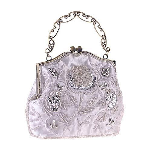 con Ofgcfbvxd rilievo da sposa vintage Borsa frizione sera borsa in Oro Colore da sposa donna Argento da da donna borsa da rBqPg4Bw