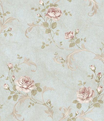 (Chesapeake ARS26003 Gracie Floral Scroll Wallpaper, Blue)