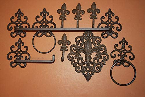 Southern Metal Vintage Look Cast Iron Fleur De Lis Bath Decor, Towel Bar, Towel Rings, Toilet Paper Holder, Robe Towel Hooks, Cajun Creole Bath Decor, Bundle - 9 Items