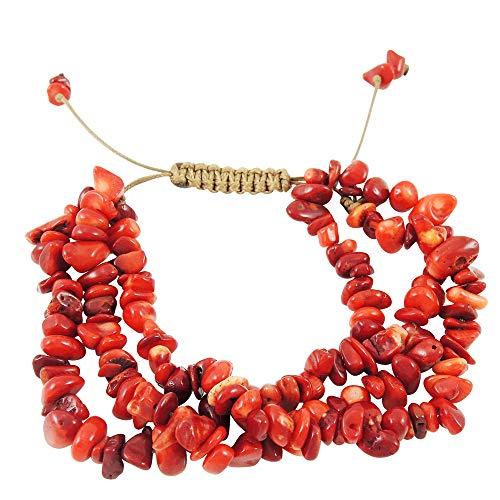 - Turquoise Network Gemstone Bracelet 3-Strands (Choose Color) (Red Coral)