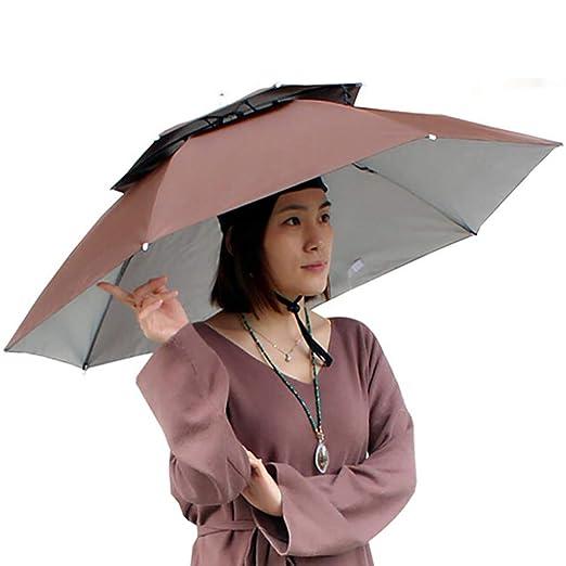 YOUNICER Doppelschicht Faltbare Regenschirm Hut Headwear Regen Sonnenschutz Angeln Kappe