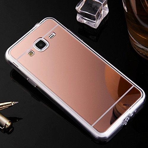 LXHGrowH Funda Samsung Galaxy J3 2016, [Ultra Delgada] Carcasa con Espejo para Samsung Galaxy J3 2016 Cover Silicona TPU Protectora Rosado Cubierta