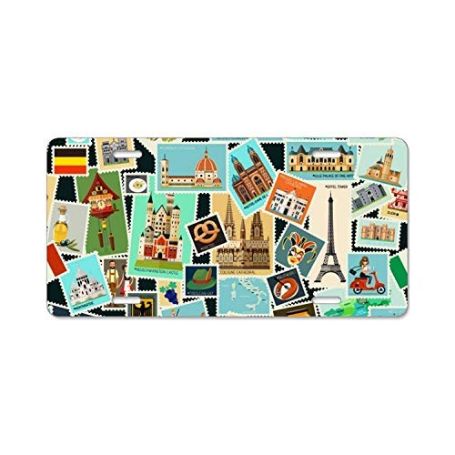 Postage Stamps Pattern License Plate Frame,Decorative Front