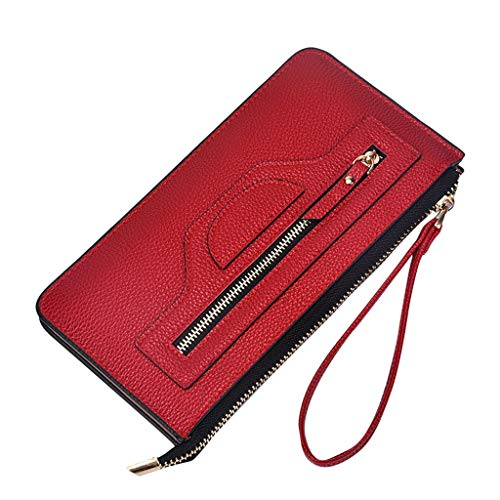 (Women Purse, BOLUBILUY Long Wallets Fashion Zipper Wallet Vintage Money Coin Purse Square Pure Color Casual Clutch)