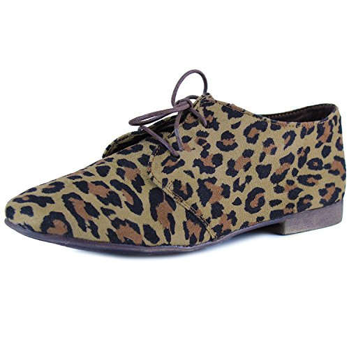 Sandy 31W up Suede Breckelle's Vegan Toe Lace Leopard Oxford Round Shoes ZdOqwxHS