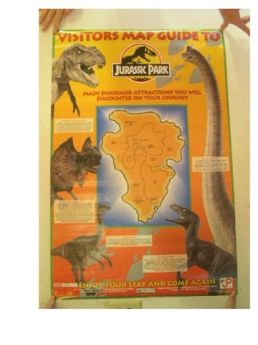 Jurassic Park Poster Visitors Map Guide to