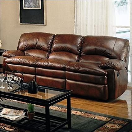 Amazon Com Coaster Walter Casual Dual Reclining Sofa Brown Bonded