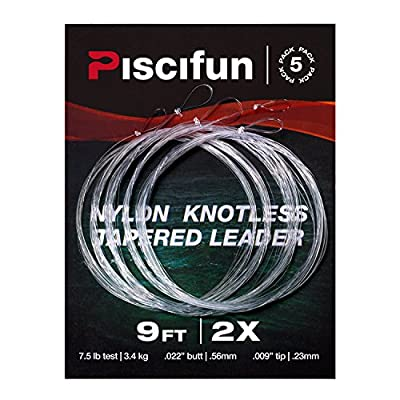 Piscifun Fly Fishing Tapered Leader with Loop-9' 5 Pack
