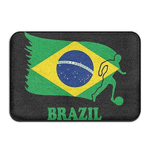 Fuucc-6 Inside & Outside Doormat Brazil Football Soccer Flag Design Pattern For Dining Hallway Bathroom by Fuucc-6