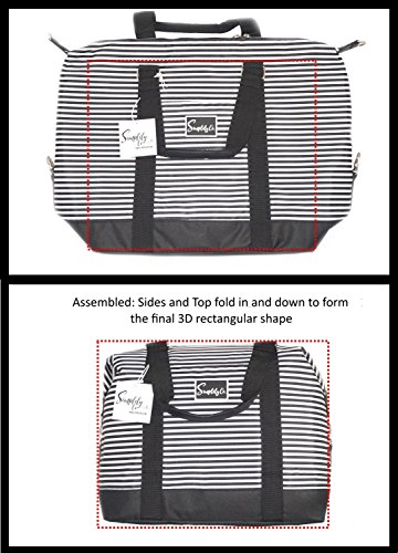 Travel Weekender Overnight Carry-on Under the Seat Shoulder Tote Bag (Small, Black & White Polka Dot) by Simplily Co. (Image #7)
