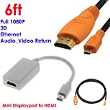 YarMonth - Mini DisplayPort/Thunderbolt to HDMI Adapter with Audio Support + Advanced 6 feet HDMI to Micro HDMI Cable w/Nylon Net, High Speed with Ethernet, for HTC EVO 4G