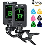 (2Pack) Hantwin Guitar Tuner 360 degree Rotational Electronic Digital Tuner Easy to Use Highly Accurate Clip-on Tuner - Suitable for Acoustic and Electric Guitar Bass Violin Ukulele