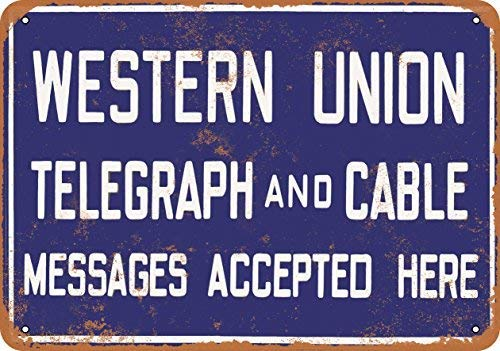 Jacksoney Tin Sign New Aluminum Western Union Telegraph and Cable 11.8 x 7.8 Inch
