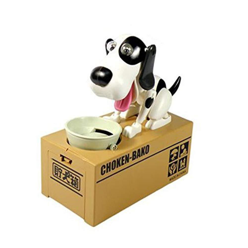 Choken Bako Robotic Dog Bank alla Banca di Moneta Canine Salvadanaio in Bianco e Nero Beito