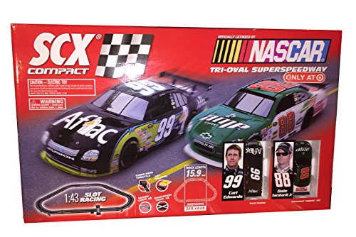 Slot Car Racing Nascar (SCX Compact NASCAR Tri-Oval 15.9 Foot Tri-Oval SuperSpeedway 1:43 Slot Racing Set featuring Car 99 Carl Edwards and 88 Dale Earnhardt Jr.)