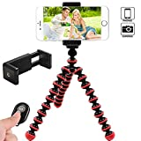 IYOOVI Octopus Style Portable and adjustable Phone Tripod for IPhone, Cellphone, Smartphone with Phone Mount Holder Clip + Bluetooth remote