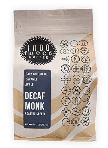 1000 Faces Coffee, Decaf Monk, Organic Whole Bean, Decaf Coffee Beans, Artisan Small Batch Roasted (12 (Dark Monks)