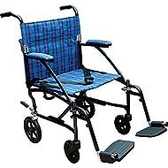 "Drive Medical Fly Lite Ultra Lightweight Transport Wheelchair, Blue Frame, 17 lbs, 19"""