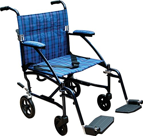 (Drive Medical Fly Lite Ultra Lightweight Transport Wheelchair, Blue Frame, 17 lbs)