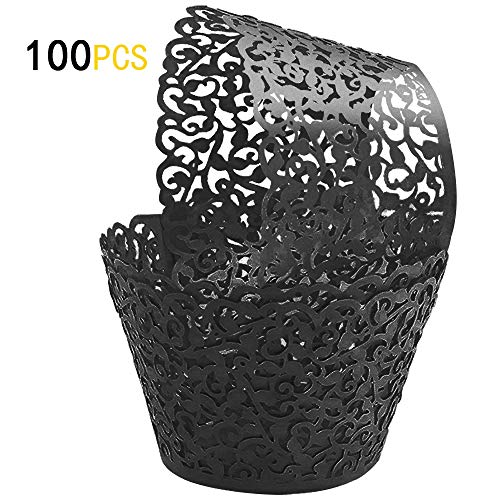 GOLF 100Pcs Cupcake Wrappers | Artistic Bake Cake Paper Filigree Little Vine Lace Laser Cut Liner Baking Cup Wraps Muffin CaseTrays for Wedding Party Birthday Decoration (Black) by GOLF