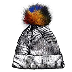 Silver-C Sequin Beanie Hat with Faux Fur