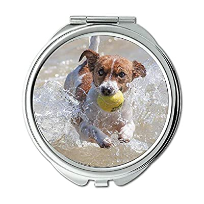 Yanteng Mirror,Compact Mirror,Dog Action Racing Jack Russell Water Tennis,Pocket Mirror,Portable Mirror