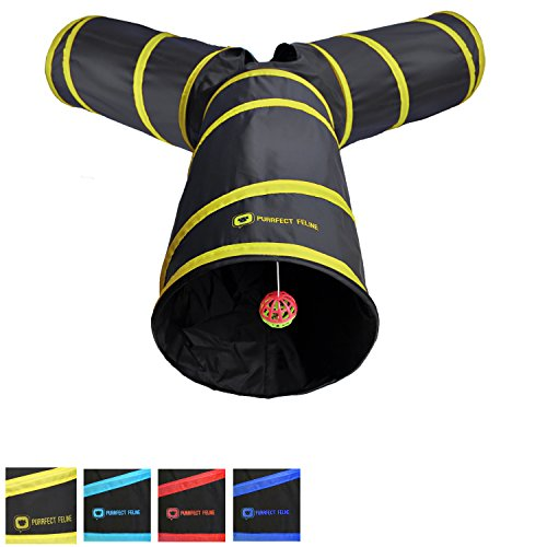 Longer Tunnel of Fun, Collapsible 3-way Cat Tunnel Toy with Crinkle (Large, Yellow)