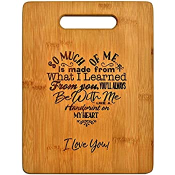 Mothers Present ~ Special Love Heart Poem Bamboo Cutting Board Mom Present Mother Day Mom Birthday Holiday Engraved Side For Decor Display or Hanging Reverse Side For Usage (8.75x11.5 Rectangle)
