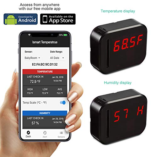 WiFi Temperature Humidity monitor, LED Digital Thermometer Hygrometer monitor, indoor/outdoor Temperature Humidity sensor with Alerts. Free iPhone/Android Apps, web browser monitor 24/7 from Anywhere by Ismart56 (Image #7)