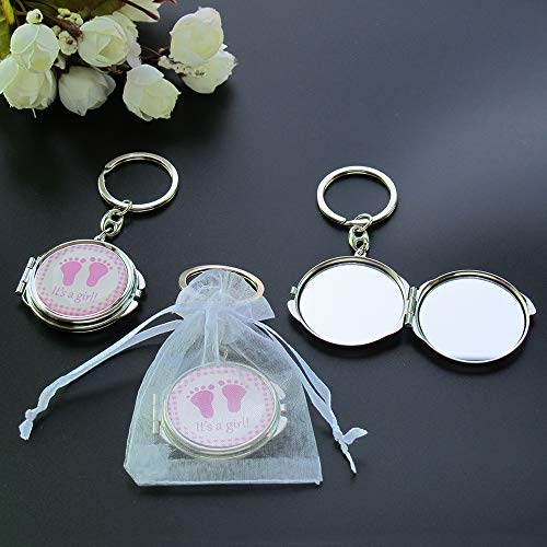 12 PCS Baby Shower Mini Compact Mirror Keychain Favor with Organza Bag Pink Footprint Design