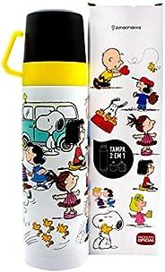 Garrafa com 2 Tampas Xícara Turma Snoopy 500ml